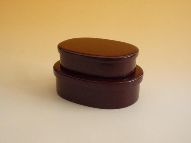 輪島漆塗り お弁当箱 二段入れ子 深いうるみ(茶)色