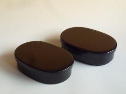 小判型 二段弁当箱 黒