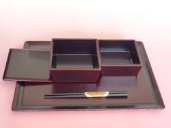 輪島漆塗り 毎日使う長方形のお盆 布目盆(溜)ため色 お盆以外は別売りです