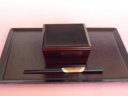 輪島漆塗り 毎日使う長方形のお盆 布目盆(黒) お盆以外は別売りです